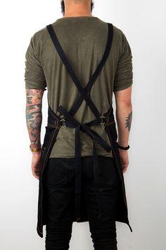 Cross-Back Apron Black Denim Split-Leg Black by UnderNYSky