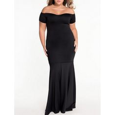 26.69$  Watch here - http://di0hr.justgood.pw/go.php?t=205303902 - Plus Size Off The Shoulder Fishtail Maxi Dress