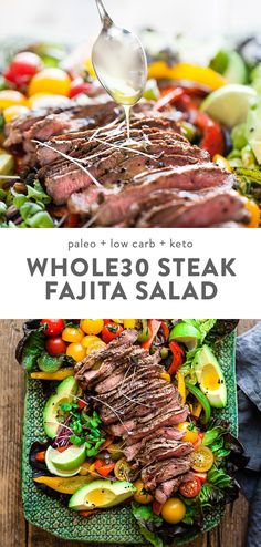 Fajita Salad with Steak Low Carb Keto This fajita salad is loaded with tender steak veggies and a quick and flavorful dressing low carb and keto it s a healthy Mexican dinner recipe that you can throw together in about half an hour steak salad Mexican Dinner Recipes, Healthy Dinner Recipes, Paleo Recipes, Whole Food Recipes, Healthy Mexican Recipes, Healthy Steak Recipes, Low Carb Mexican Food, Breakfast Recipes, Mexican Dinners