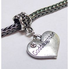 Dangle Heart Charm | Heart Charm w/ Crystal | Goddaughter | Fits Most Charm Bracelets