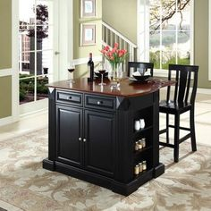 Drop Leaf Breakfast Bar Top Kitchen Island with 24 in. Shield Back Stools modern kitchen islands and kitchen carts