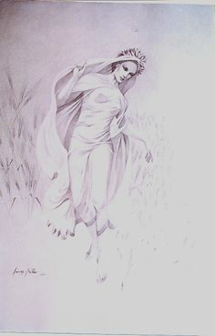 """Giannis Nikou, """"Demeter"""", 150Χ100cm, pencil on cardboard, 2009"""