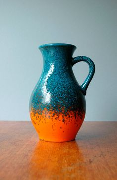 Vintage Übelacker West German Handled Vase  Orange and by luola