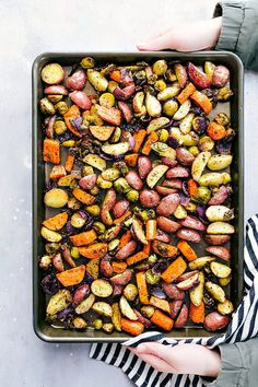 Deliciously seasoned roasted vegetables. These vegetables are coated in olive oil, seasoned amazingly, and roasted to perfection!