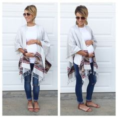 Aztec wrap, distressed rolled denim, sandals, leather earrings. Perfect maternity outfit. #pregnancyclothes, #maternityoutfits