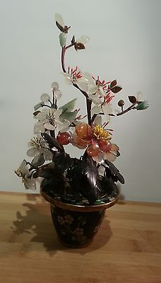 1883fe43e789 Antique Vintage Carved Jade Gemstone Flower Tree in Cloisonne Pot