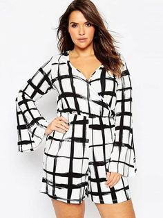 Macaquinho Plus Size Estampado - Compre Online | DMS Boutique