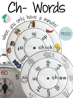 A free word wheel for practicing ch- digraph words. For US & UK spellers.