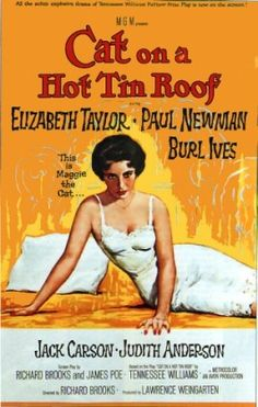 Cat on a Hot Tin Roof - based on a tennessee Williams play... One of my 10 favorite movies.