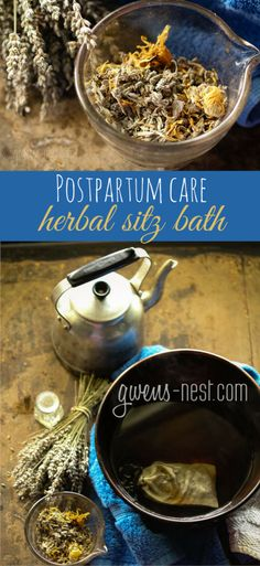 Postpartum care- this herbal sitz bath is soothing and encourages quick recovery for new Mamas. See how to make it and how to use it here!