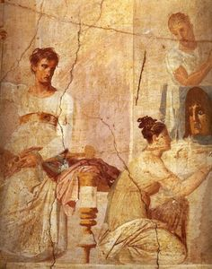 The Actor King, from the Palaestra, Herculaneum (fresco), Roman, (1st century AD)  Museo Archeologico Nazionale, Naples, Italy