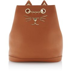 Charlotte Olympia Feline Backpack (1.096.425 CLP) ❤ liked on Polyvore featuring bags, backpacks, brown, chain bag, gold chain bag, brown drawstring bags, draw string backpack and shoulder strap bags