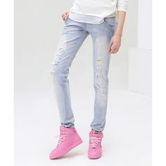 Cocobella Blue Ripped Skinny Jeans ($90) ❤ liked on Polyvore