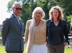 Prince Charles, Prince of Wales, Camilla, Duchess of Cornwall and Kate Humble visit Humble by Nature Farm on July 9 2015 in Monmouth, Wales. Humble by Nature is a working farm which was saved from closure by Kate Humble and her husband Ludo Graham in 2010. It includes a rural skills centre as well as a farm shop, cafe and adventure playground.