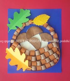 Mushrooms in a basket. Autumn Crafts, Autumn Art, Thanksgiving Crafts, Diy Art Projects, Projects For Kids, Diy For Kids, Baby Learning Activities, Autumn Activities For Kids, Origami