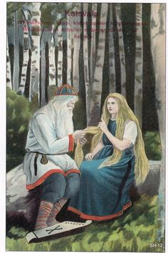 The Life and Art of Sigfried August Keinänen - Illustrations from the Kalevala – Väinämöinen's new kantele. This card is drawn in at least two versions Baby Witch, Asatru, Romanticism, The Life, Aesthetic Pictures, Game Art, Painting & Drawing, Mythology, Fairy Tales