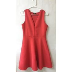 """Red dress with scalloped vneck This red dress was originally purchased from apricot lane and is the brand """"Dee Elle"""". Great condition and very flattering on all body types. Dresses Midi"""