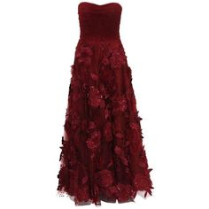 Preowned Oscar De La Renta Corset Bordeaux Tulle Leather 3d Floral... ($4,995) ❤ liked on Polyvore featuring dresses, gowns, ball gowns, black, floral dresses, embroidery dresses, floral embroidered gown, embroidered tulle gown and corset gown