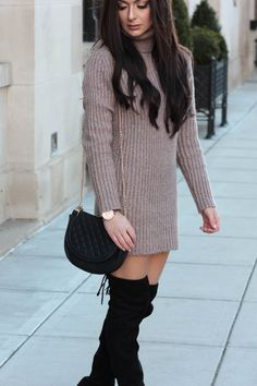 Averie Nicole Blog | Turtleneck Sweater Dress | Over-The-Knee Steve Madden Boots | Missguided Waterfall Coat | www.averienicole.com