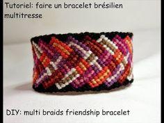Tutoriel: faire un bracelet brésilien multi tresse (DIY: multi braids friendship bracelet) - YouTube Macrame Necklace, Macrame Bracelets, Jewelry Bracelets, Micro Macrame, Friendship Bracelets, Creations, Diy Projects, Crochet, Beads