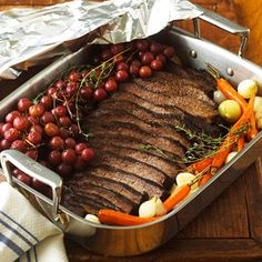 For the most tender brisket, all you need is a little patience. Slow-braise the meat ahead of time, then refrigerate overnight to blend the flavors. Carrots and pearl onions add even more flavor.