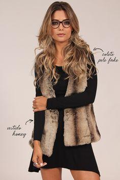 Mundo Lolita - Vestido e maxi-colete de pele fake. Dress Outfits, Fall Outfits, Casual Outfits, Dress Up, Girl Fashion, Fashion Looks, Fashion Outfits, Womens Fashion, Stylish Tops