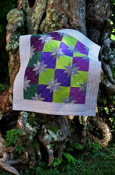 Hunter Star baby quilt made with AccuQuilt Hunter Star die.