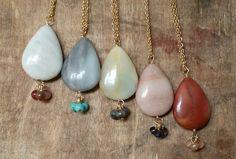 Long Amazonite Necklace Long Gold Necklace Boho by annikabella