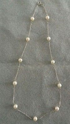 14K White Gold Pearl Necklace
