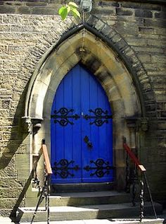 Amazing Blue Castle Door & excellent bronze gothic door with gothic tracery. Old gothic ... Pezcame.Com