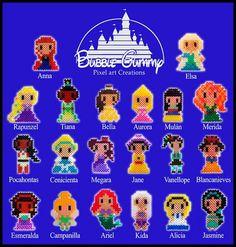 Disney girls hama beads by Bubble Gummy Pixel Art… Más