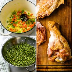 This easy green pea soup is made with dried peas and a smoked turkey wing for a smoky, thick homemade soup that's healthy too. Use a dutch oven to soak and cook the whole peas. Carrots, celery and onion add more flavor and you'll love the crispy croutons. A family meal favorite. #greenpeasoup #peasoup Green Pea Soup, Green Peas, Smoked Turkey Wings, Easy Homemade Soups, Dry Beans Recipe, Dried Beans, Bean Recipes, Family Meals, Dutch Oven