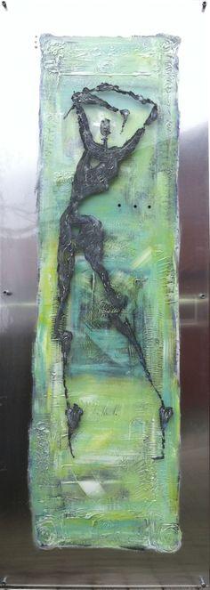 Summerdance. Artist: Elisabeth Takvam.  painting on aluminum and acrylic. 60x170cm