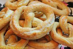 Disney World Soft Pretzels Recipe- Salted, Cinnamon Sugar, or Cream Cheese Filled via- The Disney Diner