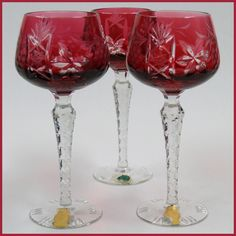 Vintage Cut Cranberry Wine Stems - 3 Cut to Clear from tolw on Ruby Lane