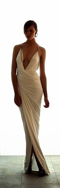 The drapping on this White Long Dress