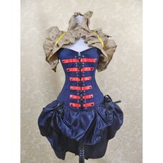 Steampunk Military Dark Blue Snow White Inspired Overbust Lace Front... ($95) ❤ liked on Polyvore featuring intimates, shapewear, dresses, corsets, grey, lingerie e women's clothing