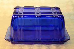 Cobalt Blue Depression Glass Butter Dish