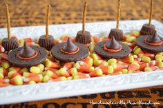 Candy Witch Hats & Broomsticks, Easy Halloween Treats! Great for kids to make for after school snacks or for school halloween parties. HandmadeintheHeartland.com