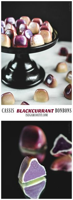 Cassis Blackcurrant Chocolate bonbons are a smooth, thin layer of white chocolate filled with a silky, jewel-toned, blackcurrant ganache.