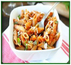 Roasted red pepper & parsley pesto with penne