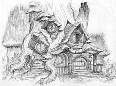 by Toni DiTerlizzi #house #tree #gnome #dwarves #forest #cottage #art #illustration #drawing #sketch