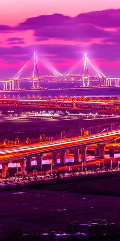 Incheon bridge at sunset in Seoul #SouthKorea