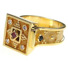 Damaskos 4 Diamond Square Face Ring. 18k Gold, 4 Diamonds, 2 Sapphires and a Ruby. See more Greek jewelry at www.athenas-treasures.com
