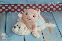 Baby on a rug Fondant Figures, Clay Figures, 3rd Baby, Baby Love, Biscuit, Cake Models, Love Cake Topper, Baby Shower Cakes, Baby Cakes