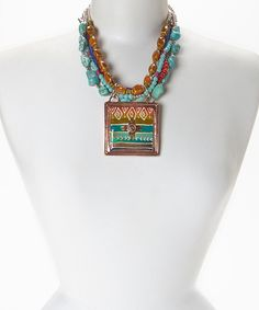 Another great find on #zulily! Turquoise Zia Square Pendant Necklace #zulilyfinds