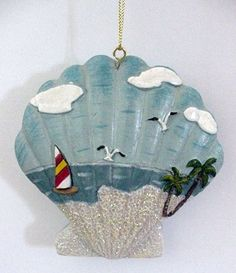 Seashell Ornaments   Sea Shell Christmas Ornament with Beach Scene - 67731 ...