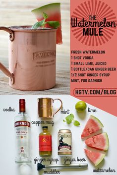 Savor the refreshing flavors of summer with this cool twist on a classic >> http://blog.hgtv.com/design/2015/07/01/watermelon-cocktail-recipe/?soc=pinterest #HGTVHappyHour