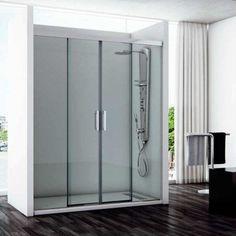 Mampara ducha 2F +2C TAMESIS.  Cristal de 6 mm de espesor.  Altura de 195 cm.  Perfilería de aluminio.