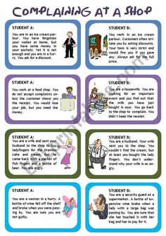 Role plays for intermediate students - Funny Situations Set 1 - ESL worksheet by Poohbear Learn English Speaking, Teaching English, Drama Education, Conversation Cards, Conversational English, English Activities, English Games For Kids, Video X, English Vocabulary